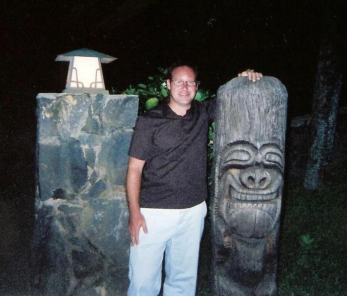 Matt witha  Tiki god at Mama's Fish House near Hana
