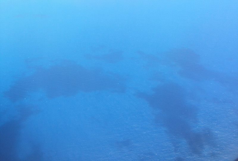 Those are actually shadows from the clouds over the water.  I took this from the plane too.