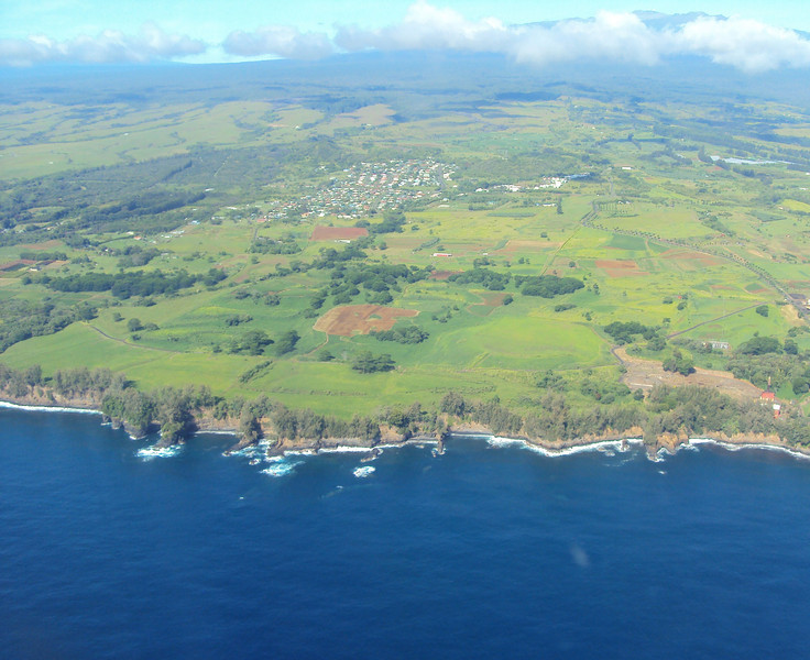 """Look at the cliffs on the """"Big Island"""".  Taken from the plane."""