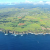 "Look at the cliffs on the ""Big Island"".  Taken from the plane."
