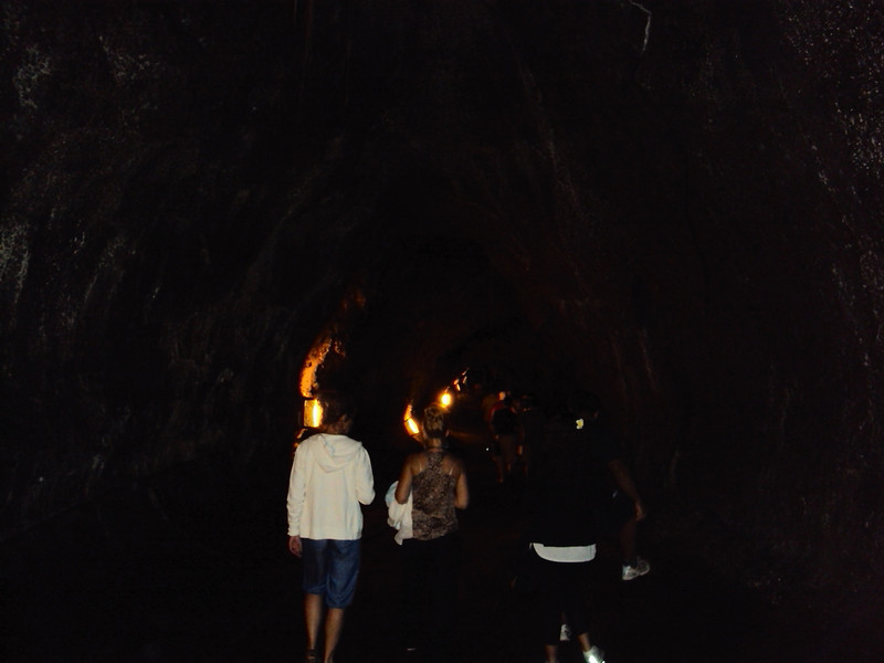Walking through the Lava Tube.