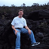 Sitting on a piece of lava rock.  Sometimes I thought I was on the moon.