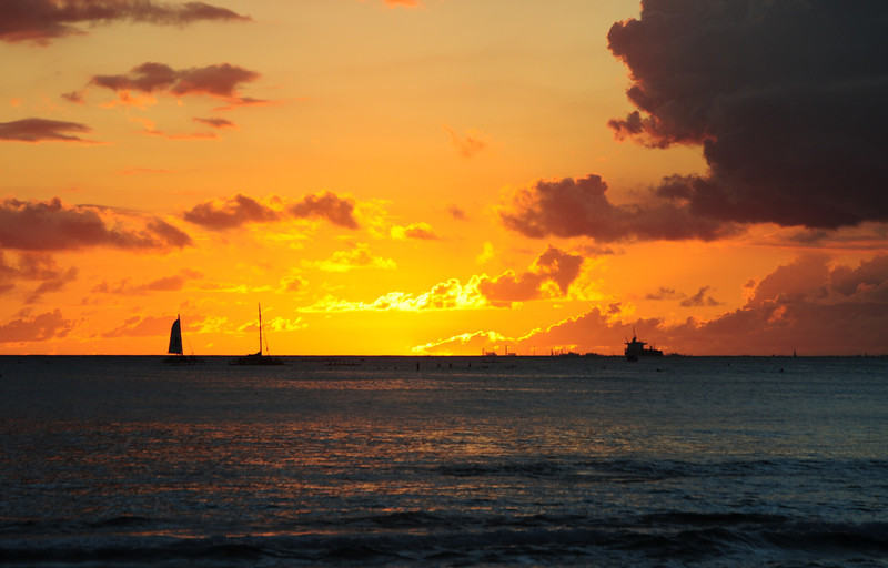 Sunset on Wakiki Beach.