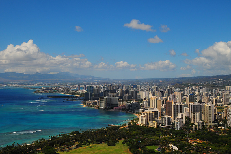 Waikiki, looking towards Honolulu. From the top of Diamond head.