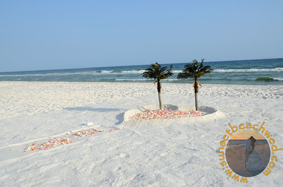 Filled Heart in the Sand with Palm Trees, Rose Petals in Coral and Cream