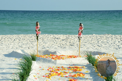 Decorated Tikis: Filled Heart, Yellow and Coral Rose Petals, Stargazer Arrangements