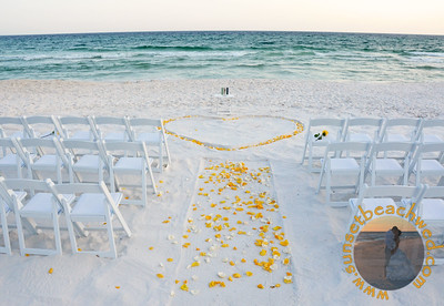 Outlined Heart in the Sand, Yellow and Cream Roses, additional Chairs and Deluxe Sand Unity