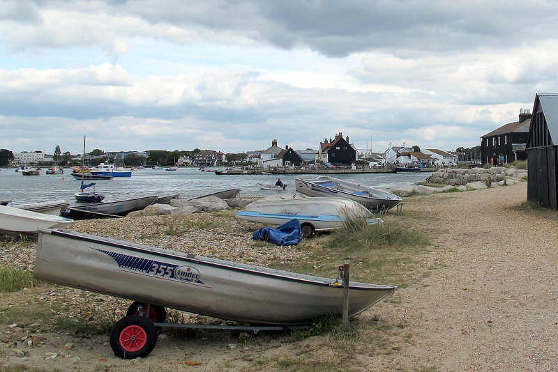 Looking across to the quay at Mudeford - note the exposed houses painted with thick layers of bitumen to keep out the sea-spray.