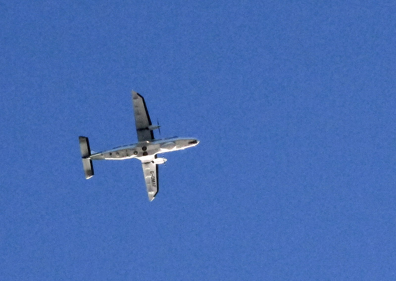 A noisy aircraft flies away from Hurn airport.