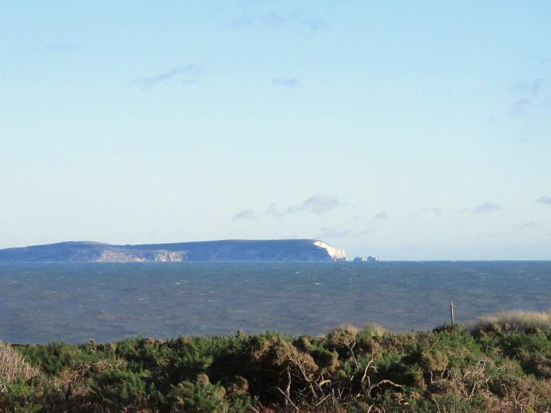 The Isle of Wight with the Needles and their lighthouse.