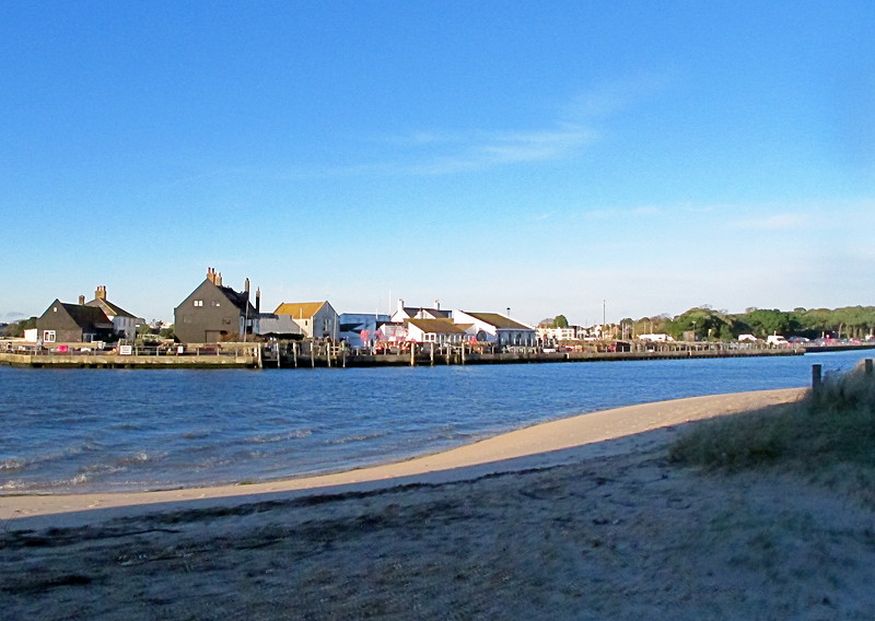 Looking across The Run (the harbour entrance) from the spit at Hengistbury Head towards Mudeford Quay.