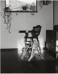 In 1977 in California, in a small simple house, I enjoyed having this antique high chair, as a conversation piece and a connection to my New England past.
