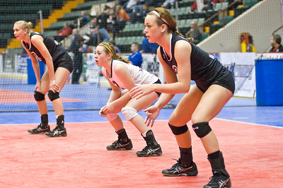 Members of the Burnt Hills Volleyball team - Lizzy Morton, Siena Wilder and Kaitlyn Valade get ready for a serve during their game against Pittsford-Sutherland Sunday. Photo Eric Jenks 11/21/10