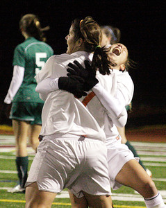 After scoring the  only goal of the game Bethlehem's Kristina Maksuti gets a hug from an excited Melissa Saxe during the Section II Class AA girls soccer championship against Shen Wednesday at Stillwater. Ed Burke 11/10/10
