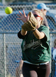 Shen left fielder Lea Cook makes the play on a solid hit ball by Bethlehem's McKenzie Pezze during Friday's Class AA softball championship at Clifton Common. Ed Burke 6/3/11