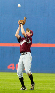 Burnt Hills-Ballston Lake's Jayson Sullivan catches a popup during their winning State Championship baseball game against Pittsford Surtherland in Binghamton Sunday afternoon. Photo Erica Miller 6/12/11 spt_BHBLwin6_Mon