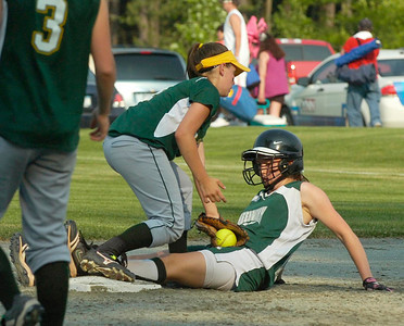 Greenwich's Ashleigh Maines is safe at second beating the tag by Norwood-Norfolk's Megan Stevenson during regional Class C action Wednesday at Adirondack Sports Complex in Queensbury. Ed Burke 6/8/11