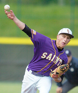Dylan Anderson pitches for the Saints during Thursday's Section II Class B win over Cairo-Durham in Troy. Ed Burke 6/2/11