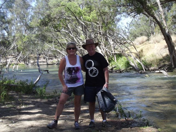 Rod and Dearne on the Nogoa River at the Higher Ground Camp