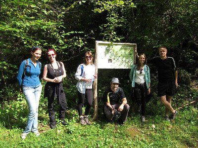 Near old mines in the Lasauvagea area. Sophy, Lorraine, Kasia, Neil, Nuria, Claus.