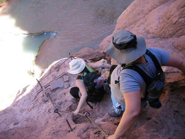 The next few shots are of Kelly and Jen winding down the chains and steps to get to the base of Mooney Falls