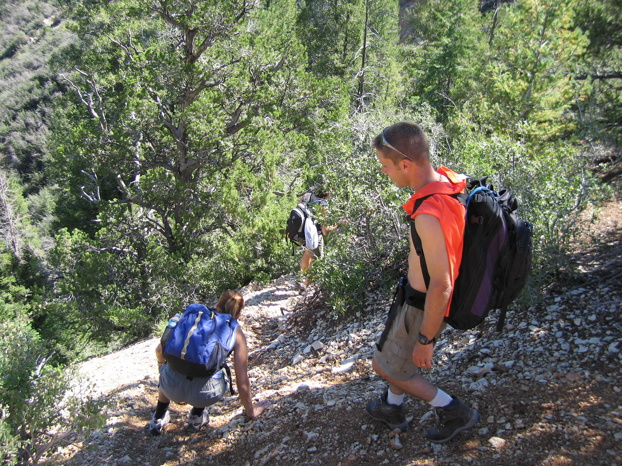 Steep scramble down into Mystery Canyon