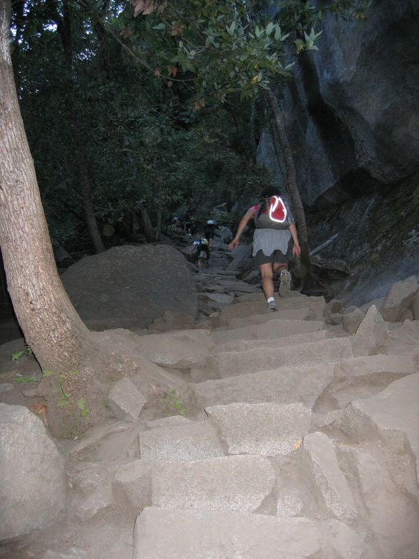 Photo courtesy of Alex.  We traveled up the steps of the Mist  Trail by the light of dawn.  My 30 lb. pack slowed me considerably, and I struggled to no avail to keep up with the group.  I had already decided that I would be more of a hiker than a photographer for this trip, and deliberately left my  SLR and heavy lens back at home.