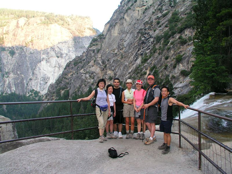 photo courtesy of tom.  the group gathered around the top of vernal falls for a photo about 6:35.  some poor san francisco resident stepped on the other side of the rails shown in this picture the day we arrived in yosemite.  the poor guy slipped and was carried over the falls.