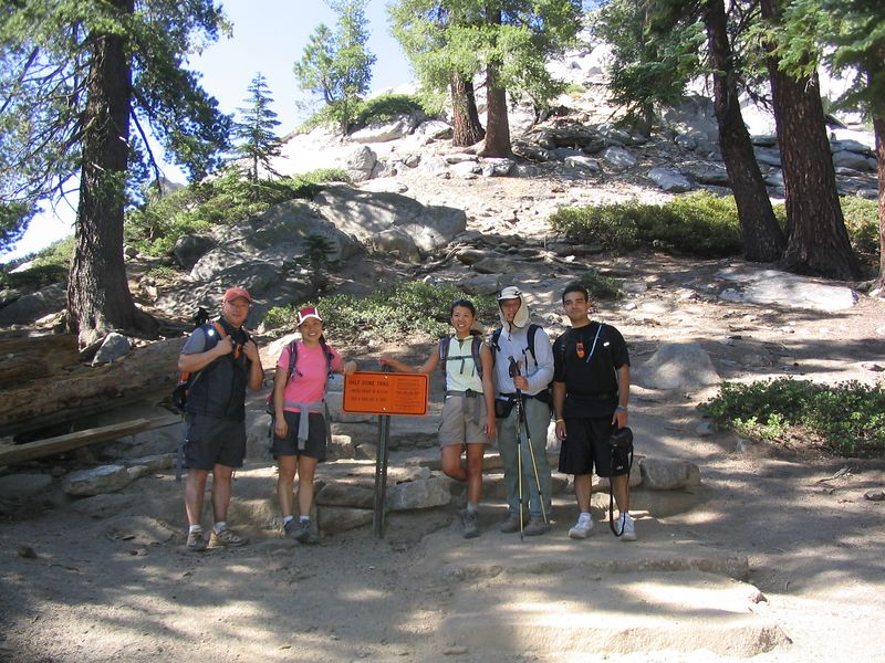 a group shot just before the granite staircase.  it was about 10:10.  if you feel the urge to relieve yourself, this is a great place, as there are still tress in the area.  i didn't need to go here, but jumped on the opportunity on the way down.
