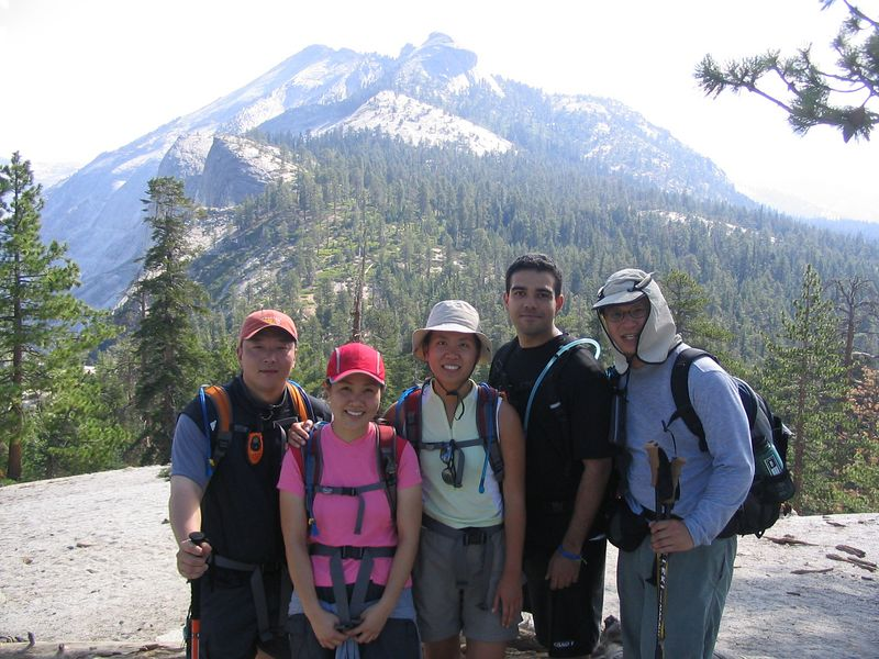 around 9:50, we had reached the treeline, and stopped to enjoy the breath-taking views.  the five of us--alex, grace, jenni, cris, and myself,  were now hiking together toward the granite staircase.