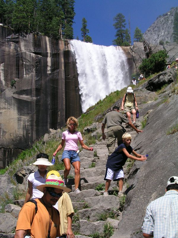 photo courtesy of tom.  when we reached the mist trail again, the experience was much different from the morning.  it was quite crowded, and we had to stop to allow people going up to clear the steps.