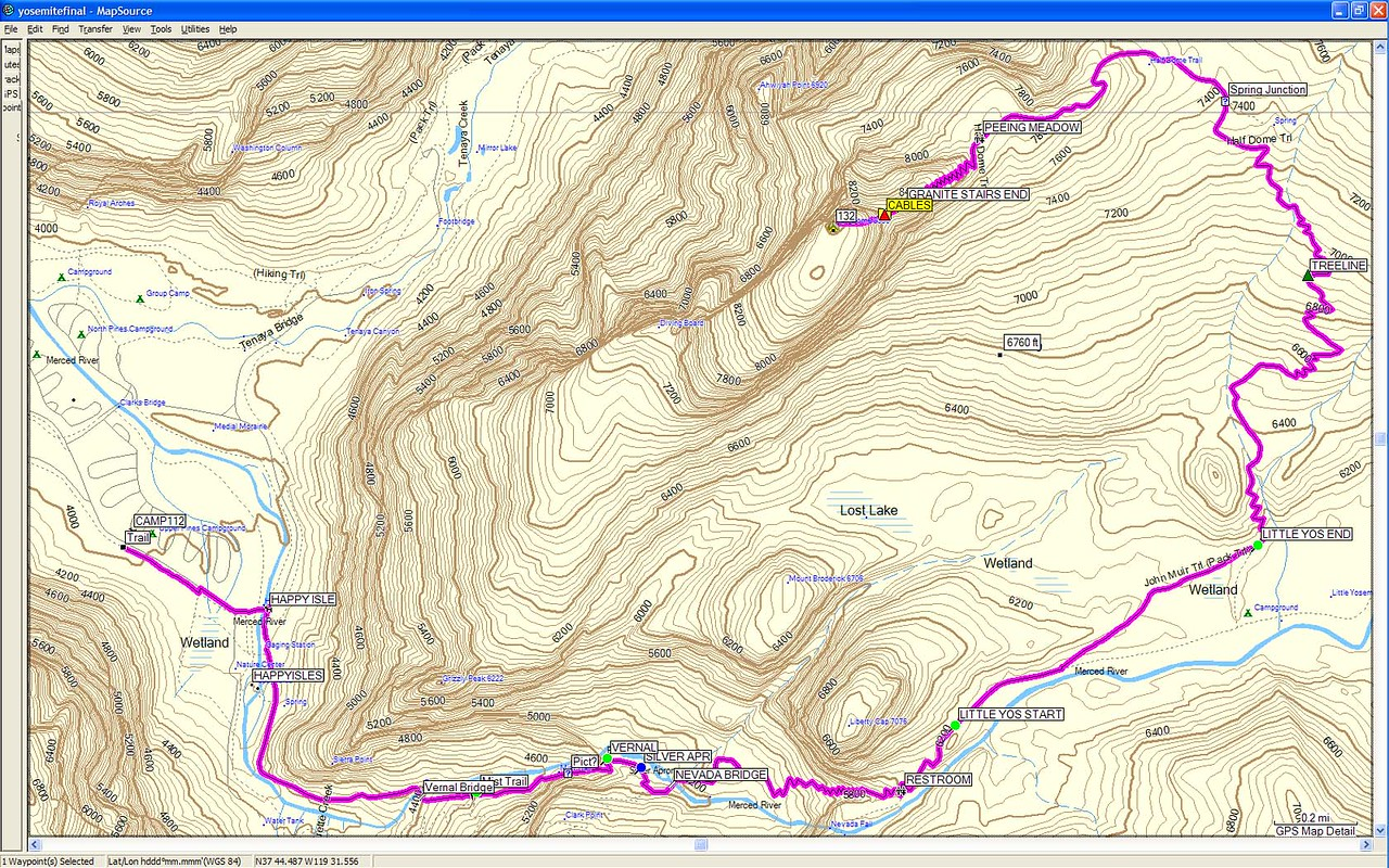 trip planning. this is our route plotted on a topo map which we roughly followed.  We started our hike at 5:30am from the Upper Pines Campgrounds.  I was carrying two 100 oz. bladders of ice  (camelbaks) and four 20 oz. bottles of gatorade, one first aid kit, one pair of gloves, two zone bars, and five powerbars.   My trekking poles were secured by bungee to my  pack,   I also carried a flashlight, a headlamp, a pair of leather gloves for the cables, a canon A70 compact camera, sunscreen, a wallet, a whistle,  and sunglasses.  i didn't bring a FRS radio, but others on our team did, and i'd highly recommend bringing them for those traveling in groups.  for those planning on making the hike in the future, i'd recommend definitely recommend starting before sunrise and carrying at least 1 oz of fluid (gatorade, water, etc.) for every 1 lb of body weight.  i consumed 170 oz of water and 40 oz of gatorade over the 12 hour hike.  carrying a water filter is a good alternative to carrying all of your water up.