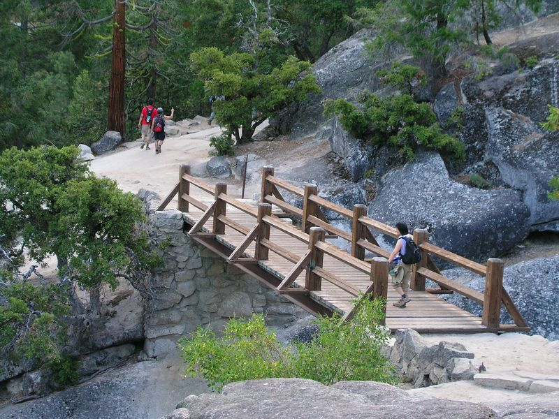 photo courtesy of tom.  around 7am, we reached the nevada falls footbridge.