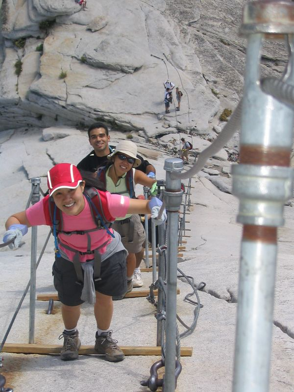 grace, jenni, and cris started behind me, but passed me up on the cables.  here you can see a picture of them beginning their ascent.