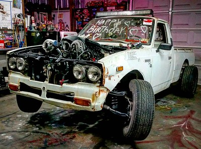 Getting closer with tire clearance and the steering done! #gotboost #toyotapickup #hilux #1977 #toyota #rn23 #rn20 #buildthreads #22r #widebody #stance #turbo #crownvic #p71 #becauseroadkill #webegambling #driftmissile #rollcage #lsx #lsswap #v8swap #becauseracetruck #formuladrift #stance #tigweld #metalshaping #minitruck #minitruckin  #hoonicorn #killalltires #vagueind