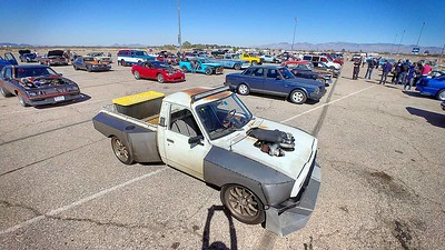 What a feeling of success to have slapped this truck together and have driven it all the way from NH to AZ #toyotapickup #hilux #jalopnik #toyota #sloppymechanics #protouring #3khooptiechallenge #widebody #stance #turbo #crownvic #p71 #madram11 #becauseroadkill #webegambling #driftmissile #missilecar #lsx #v8swap #becauseracetruck #gotboost #formuladrift #tigweld #minitruck #worldtimeattack #timeattack #killalltires #madmax #vagueind