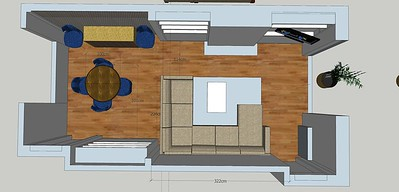 layout 1B I have no doubt that this is the best layout for this room while maximizing seating, as you don't use your dining table daily and need/want easily movement through the room, an extending table would be the obvious choice. the semi us shape give comfort as well as an extra seat when there are many poeple but at the same time does not box up the room. The walk way around the sofa in this plan shows 114cm and any walking in residential setting more than 1 meter is more than enough. you could fit an eight seater extendible table in this plan and keep two chairs in a bedroom or keep two folding chairs so such an occasion.
