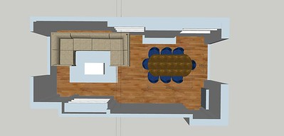 """In order this layout to work, you would have to built in shelving usings that completely obscure the fact that there is empty space behind the sofa. which means built in shelving wall to wall, and that same shelving continuing over into the next """"alcove"""" next to the fireplace, and build in cabinet before the selves once the sofa ends so you don't end up with odd empty spots.  the things is, this U shaped sofa does not actually give any more seating the the L shaped corner sofa would and you'll be more room to use in what is called a """"more dynamtic"""" movement or flow plan. and keep the view to your garden and natural lighting flooding into it."""