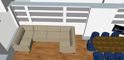 layout 5 A perspective: Here I've created a second column, this way you have a symmetrical looking display.. there is still more space to one side (by the fireplace) then the other on the shelves but the amount of shelf to either side of the sofa remains to column ratio is the same so things no longer look ill fitted.