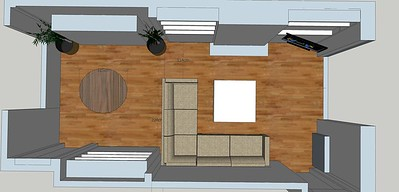 this is the living room maxed out with storage, the sofa could also have trays under the seats for more storage.
