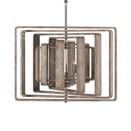 andrew martin zachary; A unique ceiling light featuring seven wooden spirals that surround the bulbs. H:56cm W:76cm D:6-71cm