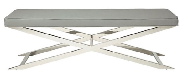 Oka stainless steel ad leather bench