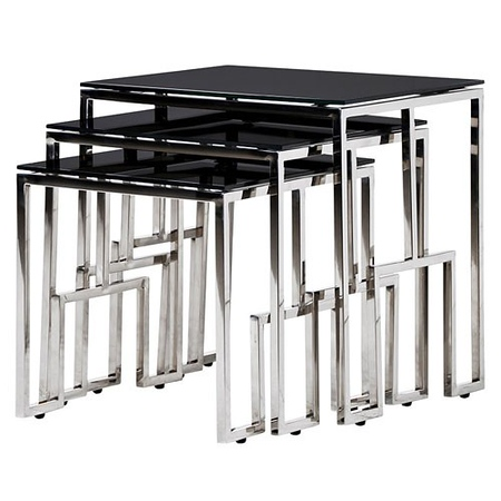 nest side table steel and glass black top