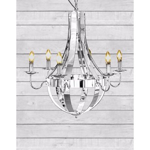 Chrome 6 Branch Cage Chandelier  H75xW72xD72cm (height given does not include chain or ceiling fixings)  requires 6x E14 small Edison screw bulb  G.W. 14kgs