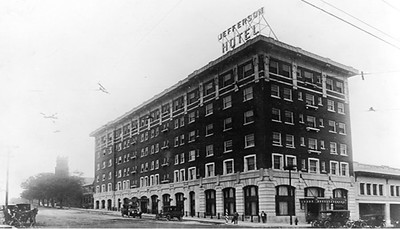 The Jefferson Hotel at the intersection of Main & Laurel Streets. Courtesy of Flicker at https://www.flickr.com/photos/23117774@N04/2570890876