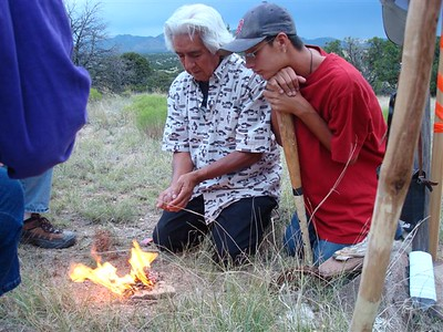 Littlebird prays and we all give thanks for this special place being restored to the stewardship of Pueblo people.