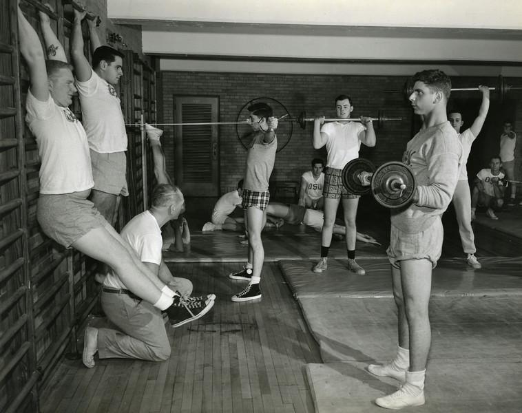 Men's Phys. Ed., weight training, 1957