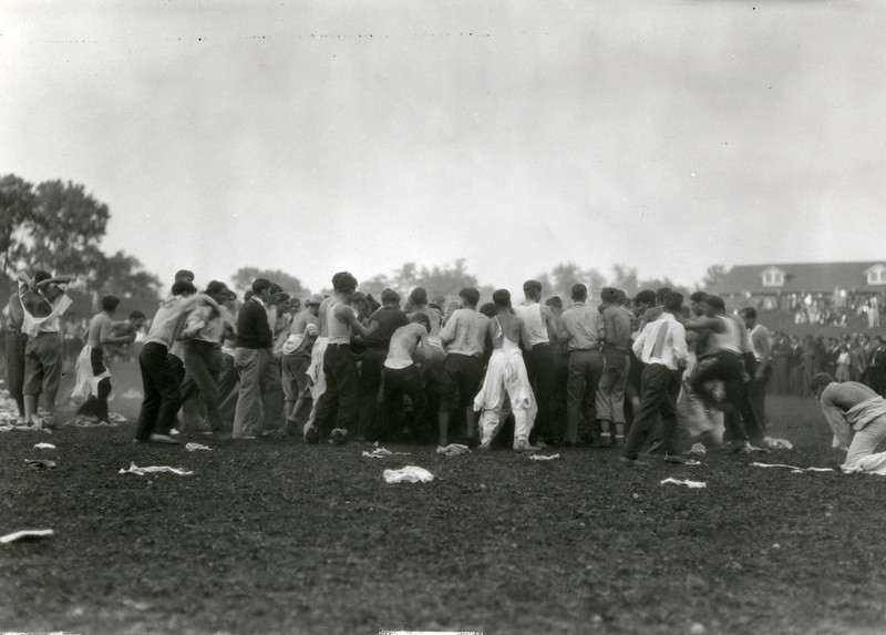 Students in a pile during Cane Rush events, 1930