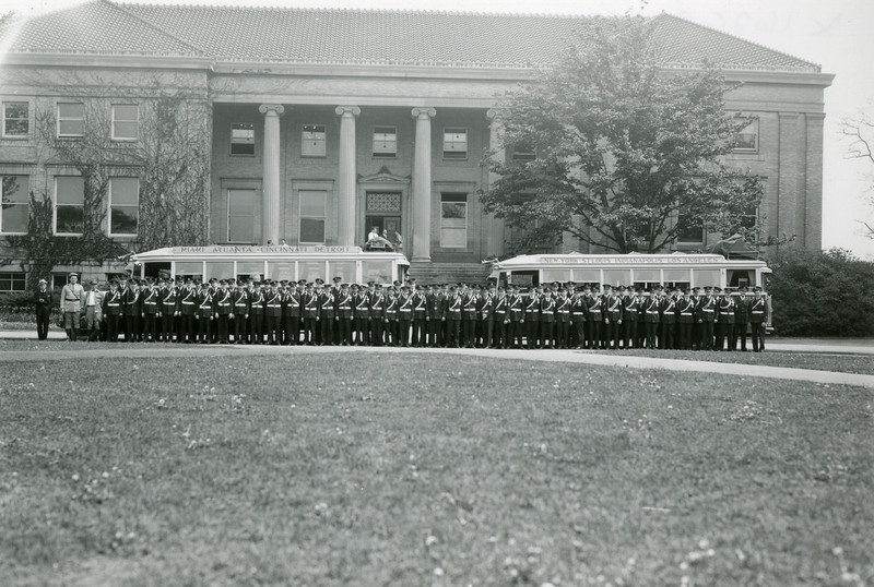 Band and buses on campus, 1931; X16262