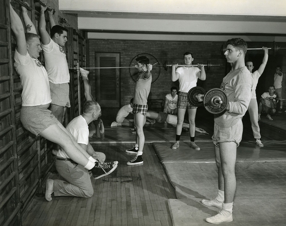 Men's Phys. Ed., weight training, 1957